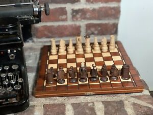 Wooden Chess Set Portable Wood Board Hand Carved Folding Game Vintage Pieces