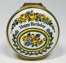 "Halcyon Days English Enamels ""Happy Birthday"" With Floral Design Trinket Box"