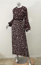 GIAMBA Womens Burgundy+Cream Floral Boho Long-Sleeve Maxi Dress Gown 38/2 XXS
