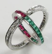 9K 9CT WHITE GOLD RUBY EMERALD DIAMOND NIGHT DAY FLIP OVER BAND RING Size M 1/2