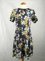 Ladies Dress Size 12 MONSOON Blue Floral Beaded Neckline Party Evening