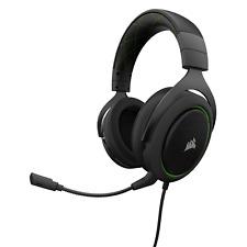 Corsair HS50 Auriculares estéreo Jugadores con micrófono (Carbón/Verde) (UE)