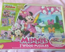 Disney Mickey Minnie Mouse Wooden Puzzle Set In Wooden Box.3 Puzzles Lovely Gift
