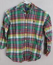 Polo Ralph Lauren Boy's Green Multicolor Plaid Long Sleeve Button Down Shirt siz