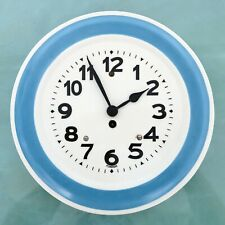 KIENZLE Wall Clock Blue/White KITCHEN Mid Century Vintage 1950s! Germany Ceramic