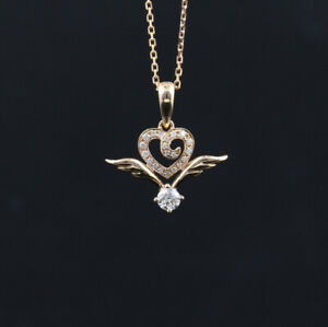 HEART WINGS ENGAGEMENT WEDDING FANCY PENDANT 1.5 CT DIAMOND 14K ROSE GOLD PLATED