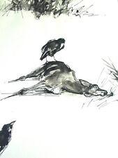 -Reh & Rabe - Tier Zeichnung - Aquarell 50er Jahre