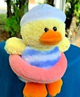 "Vintage Plushland Yellow Duck Swim Suit Lovey w/Hat 6"" Plush Stuffed Animal Toy"