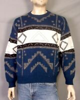 vtg 80s 90s London Fog Geometric UGLY Cosby Sweater Crew Pullover Wool Blend XL