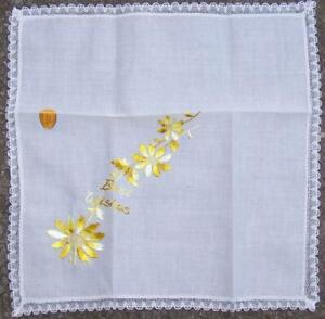 All Cotton Swiss Handkerchief Embroidered Best Wishes Flowers Vintage