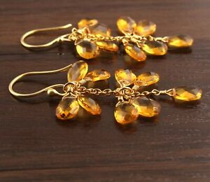Unique Hydro Quartz Yellow Gold Plated Drop Dangle Grapes Earrings For Her