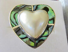 Genuine Mabe Pearl Heart & Paua Shell Ring in Sterling Silver sz 8