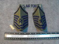 US Air Force Subdued OD Green  E-8 Sergent  Stripes, One Pair,  & USAF tab