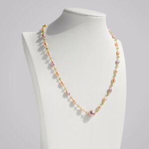 Handmade!Unique Multi-Color Keshi Pearl& Peridot Necklace Chain,21''