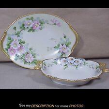 2 Antique Walter Wilson Hand Painted China Handel Meriden Artist Oval Dishes