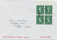 GB 1972 Wilding 1 1/2 D (block of four) Last Day Cover (Last Day £.s.d.) RRR!!