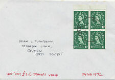 2469 1972 Wilding 1 1/2 D (block of four) Last Day Cover (Last Day £.s.d.) RRR!!