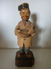 Vintage Anri Pharmacist Farmacista Apotheker Figurine Carved Wood Made In Italy