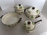 Vintage Asta Germany Enamel Cookware Set Of 4  3 With Lids