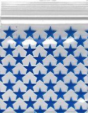 """Ziplock Baggies 2020 Apple 100 Mini ZIPLOCK Bags PRINTED Design 2"""" X 2"""" (STAR)"""