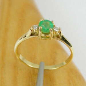 Natural Emerald & Diamond Engagement Claw Ring Genuine 750 18ct 18k Yellow Gold