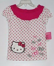 Hello Kitty by Sanrio Girls Embellished Cap Sleeve Polka Dot Top White 4 NWT