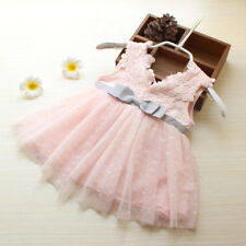 Toddler Kids Baby Girl Lace Bow Tulle Princess Tutu Dresses Wedding Pageant Gown
