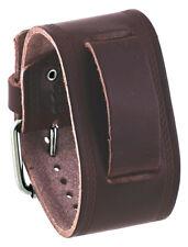 Nemesis HST-BB Unisex 37 mm Dark Brown Wide Leather Cuff Wrist Watch Band