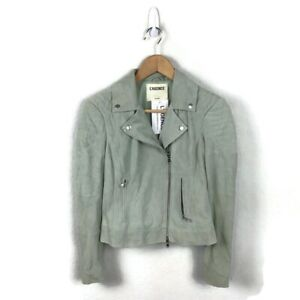 L'agence Ryder Leather Jacket XS Gray Suede Moto Zip Up Biker Women's NWT $1225