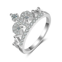 My Princess Tiara Queen Crown Love Heart 18k Gold Filled Cubic Zirconia Cz Ring