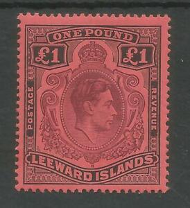 LEEWARD IS SG114a THE 1942 GVI £1 PURPLE & BLACK/carmine FRESH MINT CAT £90
