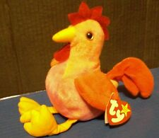 STRUT ROOSTER Retired Original Tag TY 1996 Pink Beanie Baby Chicken Farm Animal