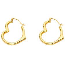 Real 14K Yellow Gold Plain Heart Shape Hook Hoop Earrings Women Girl Kid Ladies