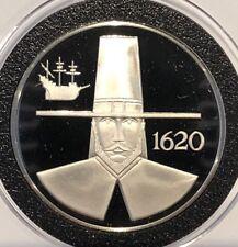 Massachusetts Liberty Tree Pilgrim 34 Grams Sterling .925 Fine Silver Coin Round