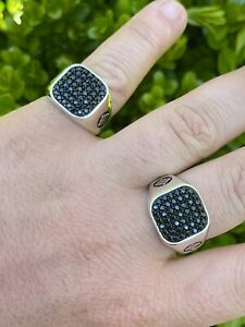 Mens Real Solid 925 Sterling Silver Ring Iced Black Diamond Size 7 8 9 10 11 12