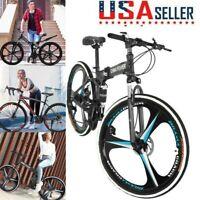 26'' Folding/Full Suspension Mountain Bicycle Road MTB Bike Shimano 21 Speed USA