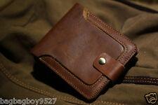 Men's Brown Genuine Leather Bifold Wallet Slim Card Holder Front Pocket NEW