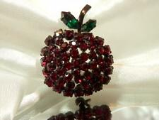 So SPARKLY Vintage 1950's Lovely Classic  Austria Signed Apple Brooch 447A9