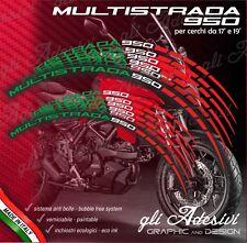 Set Adesivi Cerchi Moto Ruote DUCATI MULTISTRADA 950 Tricolore a1