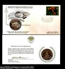 RUSSIA 1980 MOSCOW OLYMPIC SWIMMING SILVER COIN + FDC UNC 4 + 2 RUBLE STAMP