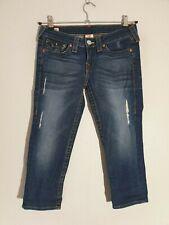 """TRUE RELIGION Stretch Capri Jeans  """"LILY""""  W 28  Destroyed  Look blau  neuwertig"""