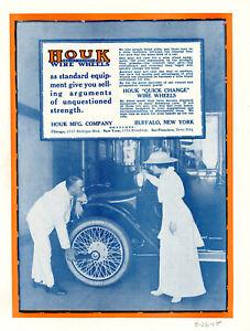 1915 Vtg Orig HOUK WIRE WHEELS Ad.ELECTRIC Car Lg PHOTO Buffalo NY + OVERLAND Ad