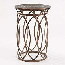 Antique Bronze Side Table Living Room Metal Furniture Round Top End Accent Stand