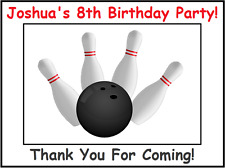 "(9) Personalized Bowling Party Stickers, 3 1/4"", Favor bag box labels,birthday"