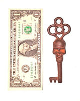 Victorian Skull Key Antique Style Skeleton Keys x1 Patina Cast Iron Vg