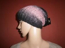 Gil-Design: unisex Strick-Mütze, Beanie, super weich schwarz/rose geflammt EG