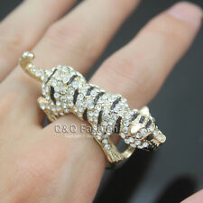 Bling Gold Jaguar Cheetah Leopard Panther Cat Animal CZ Iced Out Ring W8