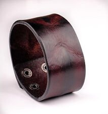 JS312 Cool Texture Single Band Real Leather Wristband Bracelet Men's Wide Cuff