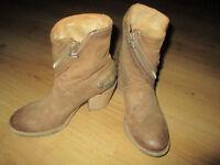 AIRSTEP Biker Boots Cowboy Stiefeletten Stiefel Gr.37 Echtleder Camel / Beige