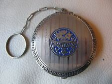 Antique Silver T Blue Enamel Floral Basket Finger Ring Dance Compact EVANS